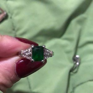 Jewelry - Emerald Sterling Silver 925 Engagement Ring